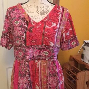 Long, flowing 100% cotton boho muumuu/house dress